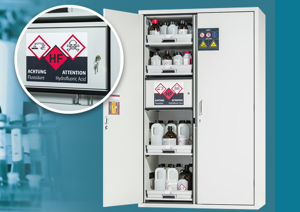 asecos SL-LINE: built-in compartment for the storage of hydrofluoric acid