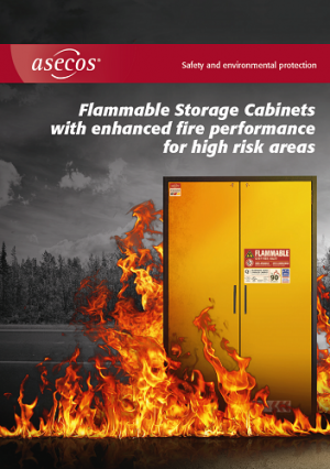 Why should flammable liquids be stored in a safety cabinet?