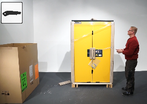 Unpacking and setting up a storage safety cabinet