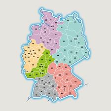 Gebietskarte für Deutschland, Österreich und die Schweiz