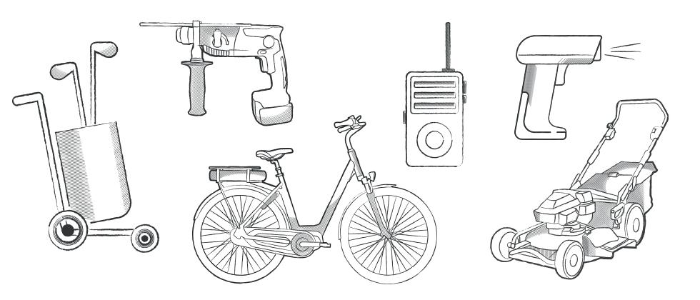 Ob in Gartengeräten, Elektrowerkzeugen, Handscannern, E-Bikes, Walkie-Talkies oder elektrischen Golf-Trolleys - hier sind Lithium-Ionen-Akkus zu finden.