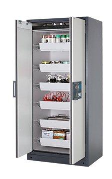 Sicherheitsschrank Q-CLASSIC-90, 0,90m Breite, mit Auszugwannen-Inneneinrichtung