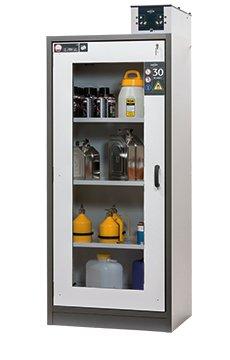 Gefahrstoffschrank Q-DISPLAY-30 mit Glasausschnitt in den Türen