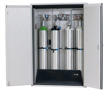 Druckgasflaschenschrank G-ULTIMATE-90, Standardinneneinrichtung, geeignet für bis zu 4 Druckgasflaschen à 50 Liter, Breite 140 cm