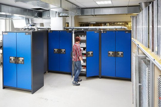 Q-LINE safety storage cabinets at the company Ernst Wenzelmann Schilderfabrik GmbH