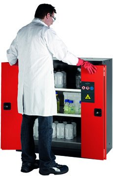 Cabinet for chemicals with folding doors