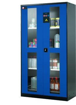 Cabinet for chemicals with doors incl. glass cutouts