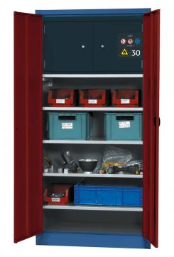 Material storage cabinet with a Type 30 safety box