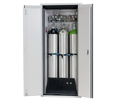 Gas cylinder cabinet G-ULTIMATE-90, standard interior equipment for up to 3 x 50-litre gas cylinders, width 90 cm