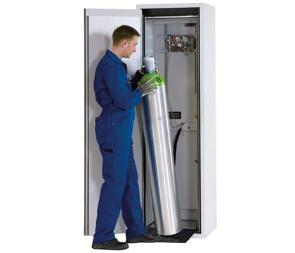 Gas cylinder cabinet G-ULTIMATE-90, standard interior equipment for up to 1 x 50-litre gas cylinders or 2 x 10-litre gas cylinders, width 60 cm