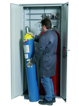 Gas cylinder cabinet for outdoor storage for up to 3 x 50-Litre gas bottles, 100cm width