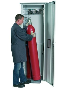 Gas cylinder cabinet for outdoor storage for up to 2 x 50-Litre gas bottles, 70cm width