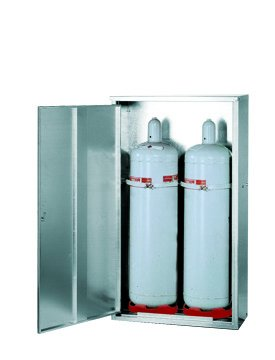 Gas cylinder cabinet, closed version, single door