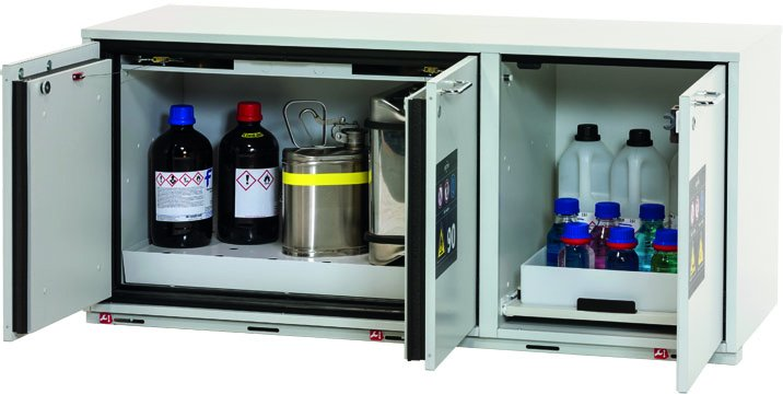 Combi safety storage cabinet K-UB-90, width 1,40m, with perforated insert, bottom collecting sump and pull-out shelf