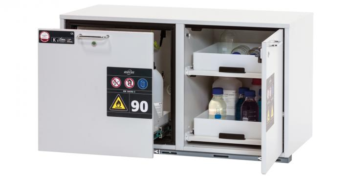 Combi safety storage cabinet K-UB-90, width 1,10m, with drawer and pull-out shelves