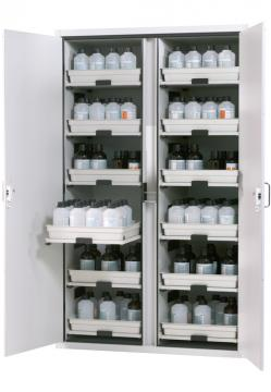 Cabinet for acids and alkalis with 12 pull-out shelves, 120cm width