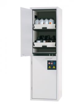 Cabinet for acids and alkalis with 6 pull-out shelves, 60cm width