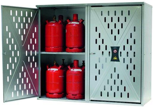 Armario para botellas de gas a presión, versión perforada, puerta doble