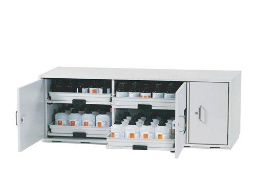 Armario para ácidos y álcalis con estanterías extraíbles y 3 puertas abatibles
