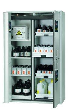 Kombi güvenli saklama dolabı K-PHOENIX-90, 1,20 m genişlik, tehlikeli maddeler merkezi dahil