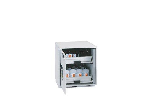 Asit ve alkaliler için açılır-kapanır rafları bulunan dolap, 59 cm genişlik