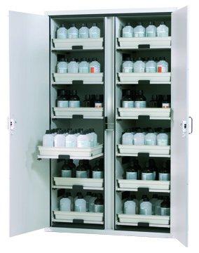 Asit ve alkaliler için 12 açılır-kapanır rafı bulunan dolap, 120 cm genişlik