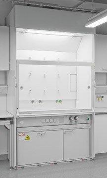 Type 90 brandwerende onderbouwkast geïntegreerd in een laboratorium zuurkast