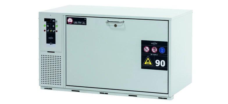 带制冷机组模型的 UB-S-90K 储柜,宽 110 厘米,带抽屉