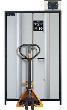 带托盘车的 Q-PHOENIX-90 安全存储柜