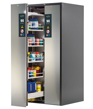 V-MOVE-90, 81 cm wide, bi-colour with stainless steel front, two vertical drawers