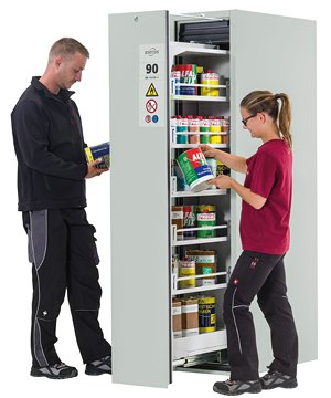 V-MOVE-90, 45 cm wide, colour light grey, 5 extendable storage shelves, bottom collecting sump