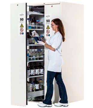 V-MOVE-90, 81 cm wide, colour pure white (for laboratory use), two vertical drawers
