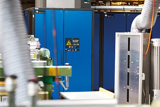 Configuration sur site : armoire de sécurité ION-LINE dans le Halle de stockage