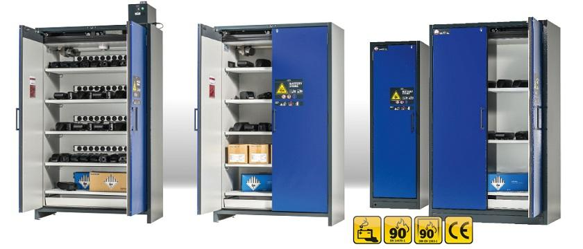 ION-LINE model variety: Safety storage cabinets with various equipment features (e.g. with protective contact sockets for connection of chargers; integrated ventilation) and in 2 cabinet widths (120 cm, 60 cm)
