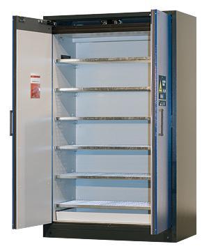 BATTERY STORE: equipamiento interior con 6 estantes de rejilla, 1 cubeto colector inferior