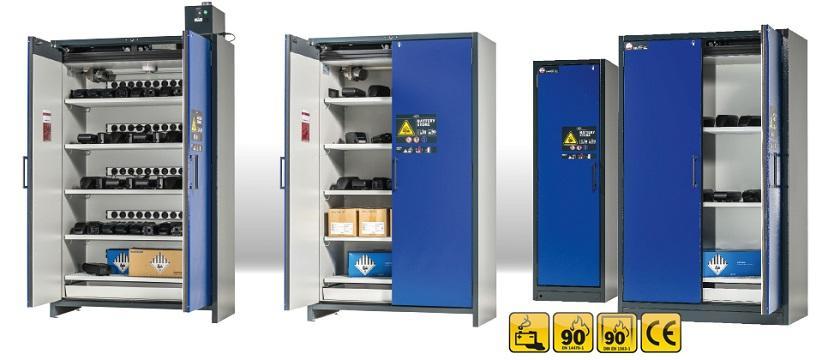 Variedad de modelos ION-LINE: armarios de seguridad con diferentes variantes de equipamiento, p. ej., con tomas de corriente con contacto de protección para la conexión de cargadores, ventilación técnica integrada