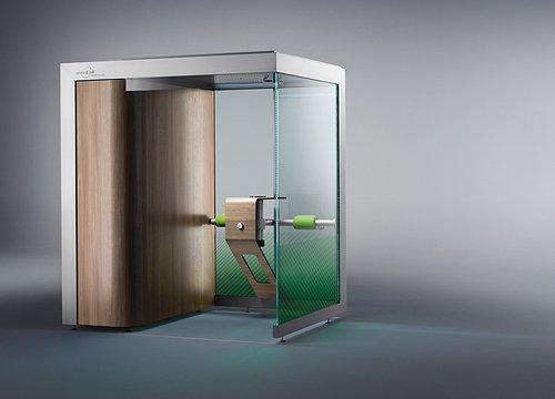 Smoking cabin (model ST.203-DESIGN) with a capacity for up to 4 smokers, equipped with one table.