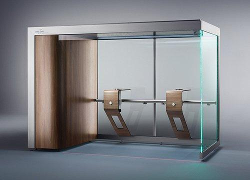 Smoking cabin (model ST.328-DESIGN) with a capacity for up to 8 smokers, equipped with 2 table modules.